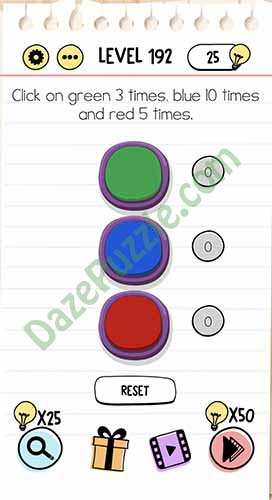 click on green 3 times blue 10 times and red 5 times brain test