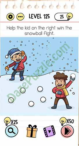 help the kid on the right win the snowball fight brain test