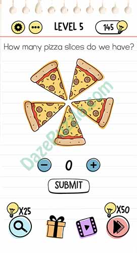 how many pizza slices do we have brain test