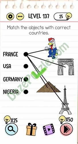 match the objects with correct countries brain test