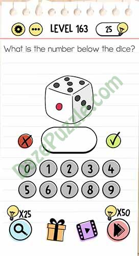 what is the number below the dice brain test