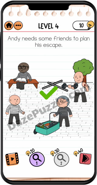 brain test 2 prison escape level 4 answer