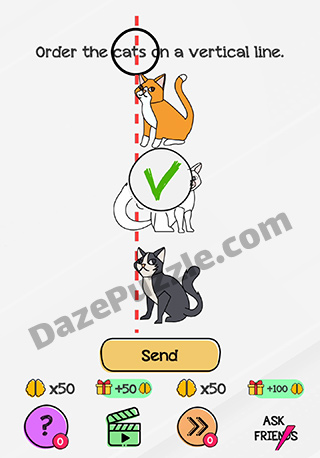 Braindom Level 181 Order The Cats On A Vertical Line Answer Daze Puzzle