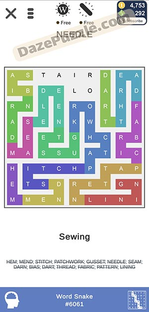 puzzle page word snake February 10 2021 daily puzzle answer