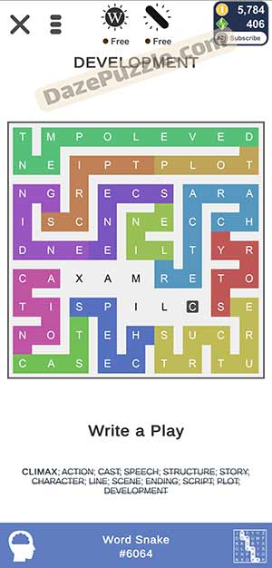 puzzle page word snake February 24 2021 daily puzzle answer