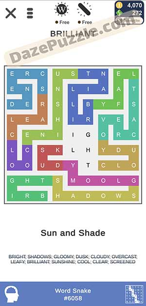 puzzle page word snake February 3 2021 daily puzzle answer