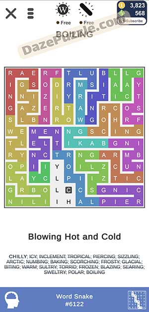 puzzle page word snake March 20 2021 daily puzzle answer