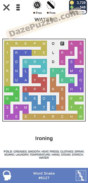 puzzle page word snake March 24 2021 daily puzzle answer