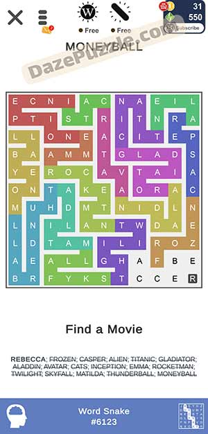 puzzle page word snake March 27 2021 daily puzzle answer